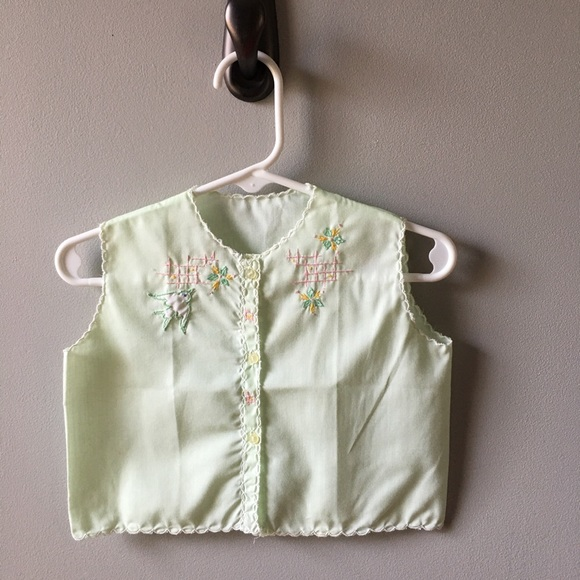 Vintage handmade embroidered infant top